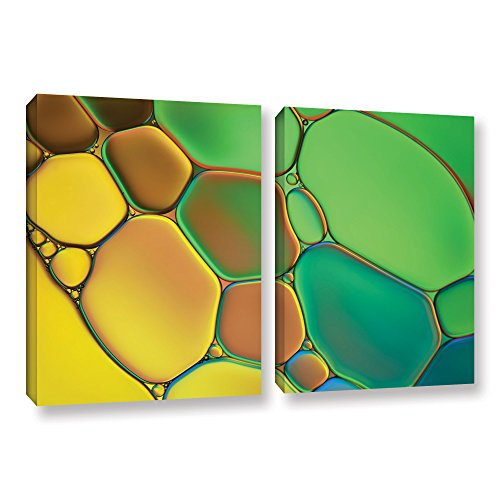 'Stained Glass III' by Cora Niele 2 Piece Graphic Art on Wrapped Canvas Set 0nie074b2436w