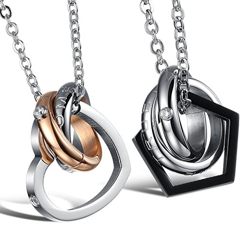 Kstyle Jewelry Men'S His & Hers Couples Love Gift Stainless Steel Heart Pendant Necklace Love Valentine Necklace Set With Gift Bag