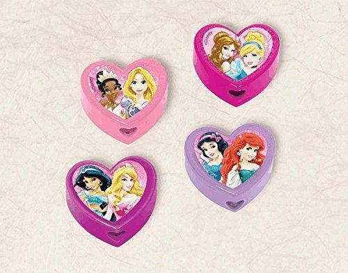 "Amscan Disney Princess Sparkle Sharpeners, Light Pink/Pink/Violet/Purple, 1 1/2"" x 3/4"" - 1"