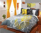 Yellow Gray White Comforter Duvet Sheets Bedding Set Queen 11 Pcs