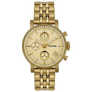 Fossil Unisex ES2197 Chronograph Gold Tone Watch