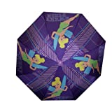 Tinkerbell Disney Fairies Girls Purple Collapsible Umbrella with 3D Handle