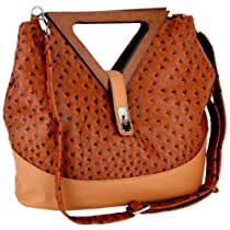 Hot Sale Exotic Brown / Tan Ostrich Turnlock Wood Triangle Handles Shopper Tote Handbag