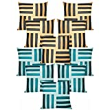 Cross Patti Cushion Covers Combo Beige,Black/Blue,Sky Blue 40 X 40 Cms(10 Pcs Set)
