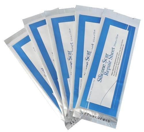 Silikon Gel Narbenfolie 5 x Narben Pflaster: 3,5 cm x 12 cm