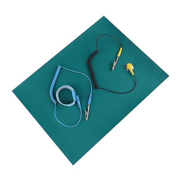 ESD Mat wrist Strap Kit,Electrostatic Silicone Mat+ Wrist Strap Belt+2Pcs Cable (Color: Blue)