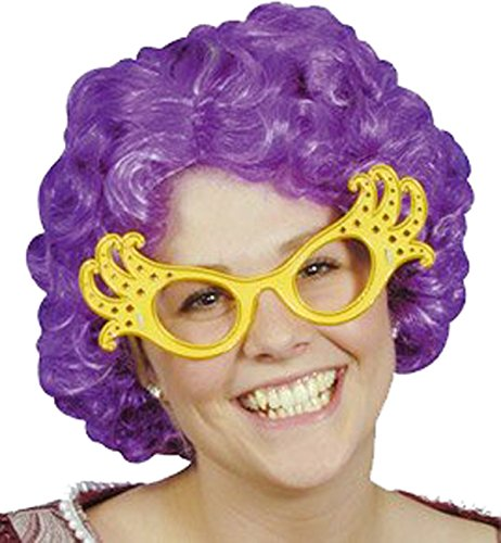 Ladies Fancy Dress Club Party Fun Dame Edna Style Nylon Curly Short Hair Wig (Dame Edna Costumes)