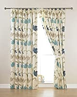 "CORK FLORAL CREAM BLUE 46"" x 48"" LINED PENCIL PLEAT CURTAINS #ELASNIK by PCJ Supplies"