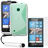 ITechCover® (5-in-1 Accessory Pack) Nokia Lumia 530 Case Clear S-Line Gel TPU Protective Skin Cover, 2 x Ultra Clear Screen Protector Films, Micro Fibre Cleaning Cloth & Mini Stylus Touch Pen