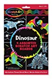 These four-sheet activity kits offer creative play and learning, too! Trace the dinosaur shapes with the stencil and fill them in with your own designs to create holographic creatures. Then check out the included fun facts to learn about the real dinos who once walked on Earth. Includes 2 silver holographic and 2 multicolor holographic Scratch Art Boards. 3360