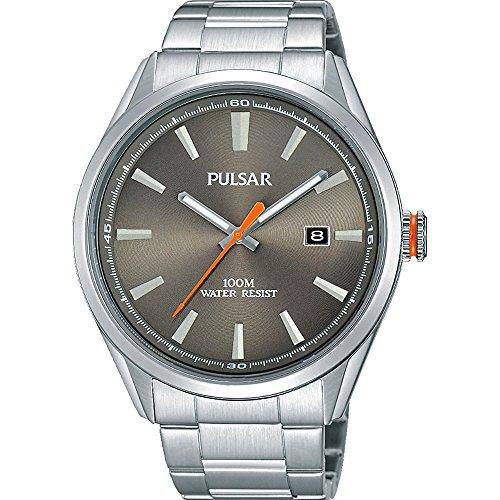 Pulsar Gents Classic Dress Watch Stainless Steel Bracelet Dark Grey Dial and Date Window