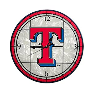 MLB Texas Rangers 12-Inch Art Glass Clock by The Memory Company