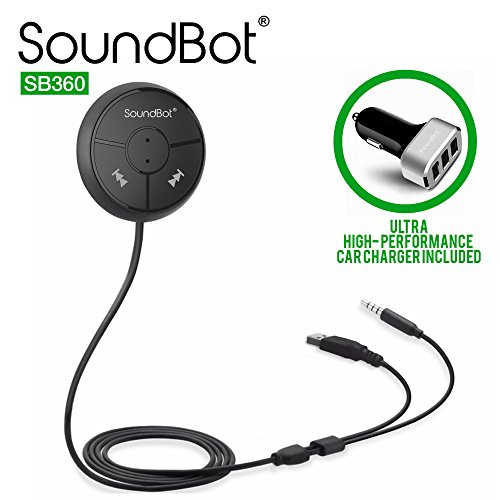 SoundBot SB360 Bluetooth 4.0 Car Kit Hands-Free Wireless Talking & Music Streaming Dongle w/ 10W Dual Port 2.1A USB Charger + Magnetic Mounts + Built-in 3.5mm Aux Cable (Auto Bluetooth Kit compare prices)