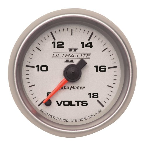"Auto Meter 4991 Ultra-Lite Ii 2-1/16"" 8-18V Full Sweep Electric Voltmeter"