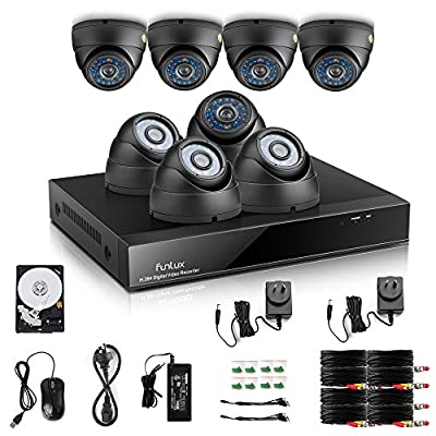 Funlux Outdoor Surveillance Camera System QR Code Easy Setup 8CH 960H Video DVR with 8X700TVL High Resolution Day/Night IR-Cut Built-in Weatherproof Security Cameras with 1TB Hard Drive