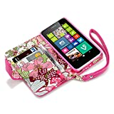 Qubits - Nokia Lumia 630 / 635 Textured PU Leather Wallet Case / Cover / Pouch / Holster with Card Slots / Cash Compartment And Detachable Wrist Strap - Hot Pink with Lily Floral Textile Interior Part Of The Qubits Accessories Range