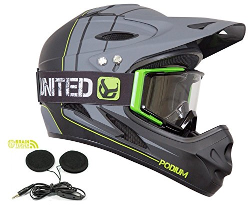 Demon-Podium-Full-Face-Mountain-Bike-Helmet-Audio-with-Black-Supra-Goggle