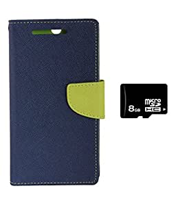 Zocardo Diary Flip Case Cover for Micromax Unite 2 A106 -Blue , 8GB Memory Card with magnetic lock, pocket for card & money