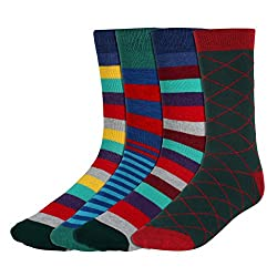 His Honour Men's Fashion Socks (Pack of 4 Pairs) - Assorted