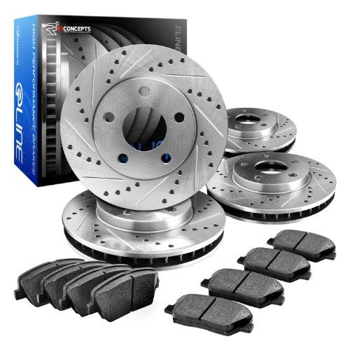 Brake Rotors FULL KIT ELINE DRILLED SLOTTED /& PADS-Toyota HIGHLANDER 2008-2012