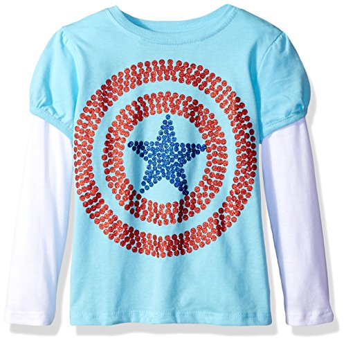 Marvel Girls' Toddler Girls' Captain America Shield L/s 2-Fer T-Shirt, Light Blue/White, 2T (Captain America T Shirt Toddler compare prices)