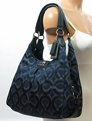 Coach Madison Op Art Ikat Maggie Hobo Handbag 21295 Navy