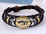 Be Nice Vintage PU Leather Alloy Constellation Logo Beads Braided Rope Fashion Bracelet,Unisex (Virgo)