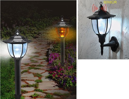 2 In 1 Solar Powered Garden / Porch Security Lights (1014) Pir Motion Sensor Lights Change Colour When Motion Is Detected. 1 Free.
