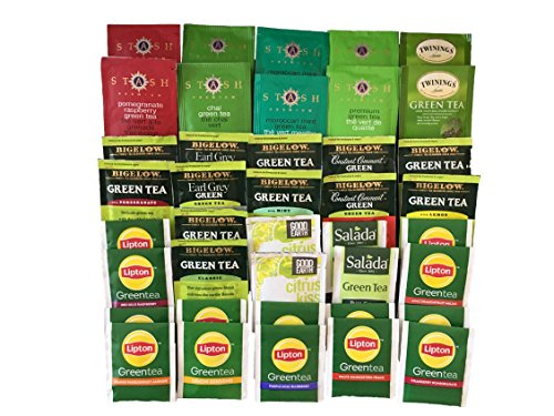 Custom Assorted Green Tea Variety Pack by AtHomePlus-- Good Earth, Salada, Bigelow, Stash, Twining Teas (40 Count) - Flavorful Sampler of Fresh Natural Green Tea bags packed in Gift Box (Cheer Up Care Package compare prices)
