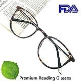 Reading Glasses 2.25 Women Light Weight Round Eyeglasses Frames Tortoise Comfortable