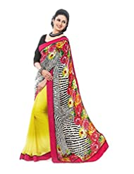 Rajnandini Multicolor Bemberg Poly Georgette Digital Print Saree With Pure Heavy Silk Border & Pure Heavy Silk...