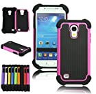 XYUN For Samsung Galaxy S4 S IV Mini i9190 i9192 New Shockproof Hybrid Heavy Duty Impact Rugged Case Combo Skin Cover (hot pink)
