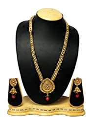 Traditional & Gold Plated Design Bridal Long Necklace Set With Antique Earring