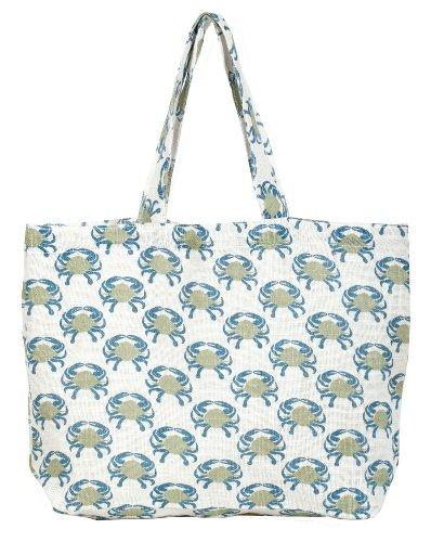 rockflowerpaper Blue Crab Jute Tote Bag