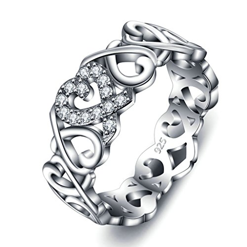 925 Sterling Silver Ring, Women's Wedding Bands Hollow Out Knot Heart Engagement Band and Size 8 Epinki