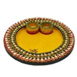 Wooden And Paper Mache Round Shape Pooja Thali With Kundan Work