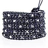 Blush Jewelry Silver Faceted Pearl & Matte Black Onyx Leather Wrap Surf Bracelet 36