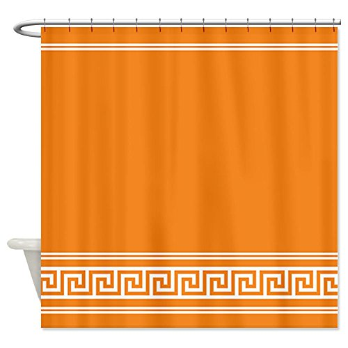 Geometric Art Deco Trendy Tangerine Shower Curtain