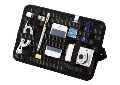 バッグの中の小物がスッキリ片付く 簡単整理 デジモノアクセサリー固定ツール 「バッグインボード」A4サイズ ブラック