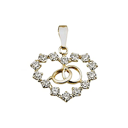 18k gold heart pendant zircons alliances [AA4793]