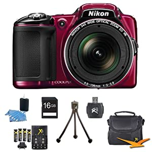 Nikon COOLPIX L830 16MP 34x Opt Zoom Digital Camera Red Kit