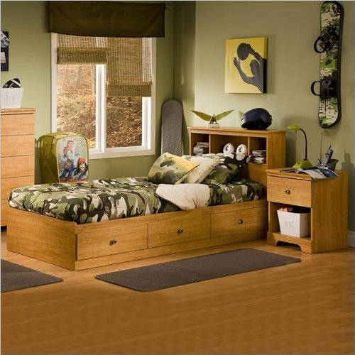 South Shore Brinley Kids Twin Wood Captain S Bed 3 Piece Bedroom Set In Florence Maple
