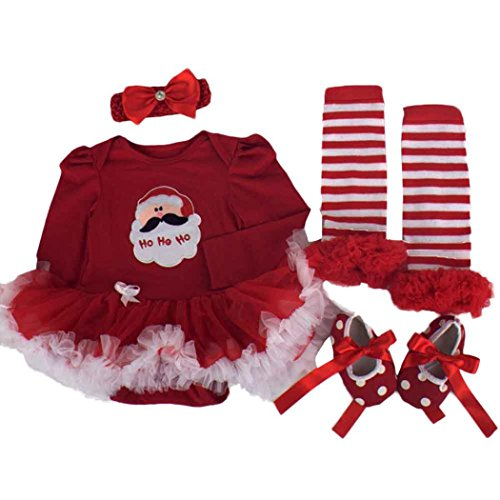 Culater® Natale Party Girl bambino Tutu Neonato pagliaccetto Imposta Dress (L)