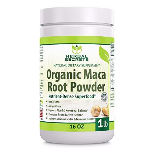 Herbal Secrets  Organic Maca Root Powder- 16 oz (1 lb)- GMO FREE- Supports Healthy Mood, Hormonal Balance, Cardiovascular Health & Immune Health