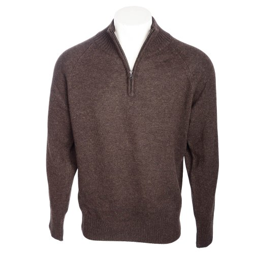 Harbour Collection Men's Chocolate 100% Lambswool 1/4 Zip Neck Jumper in Size Large