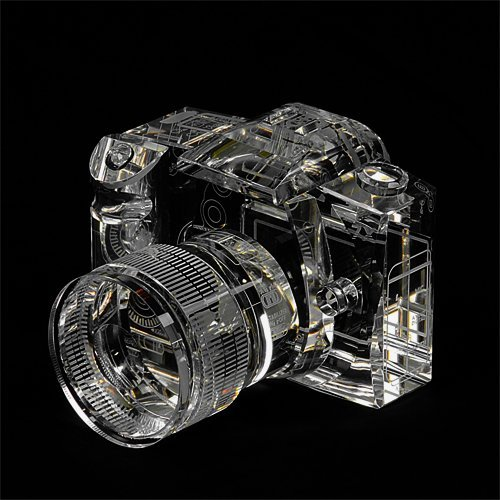 Fotodiox Crystal Dslr Camera, 2/3 Size Replica (Canon Eos 7D With Zoom Lens), Paperweight, Book Shelf, Bookends