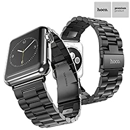 Apple Watch Band, TabPow HOCO [Timeless Band Series] Black Stainless Steel Strap Classic Adapter Buckle Watch Bands for Apple Watch 38mm [Includes Band Link Removal Tool][Special Edition Black]