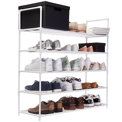 XXL-Schuhregal-91-x-88-x-30-cm-Schuhablage-mit-5-Ablagen-fr-25-Paar-Schuhe-als-Schuhschrank-und-Schuhstnder-wei