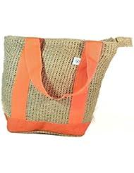 Jute N Craft Women's Board Weaving Jute Handbag Brown&Orange