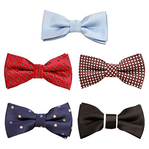 Bundle Monster 5 pc Boys Mixed Pattern Adjustable Elastic Pre-Tied Bow Tie Fashion Accessories - Set 6
